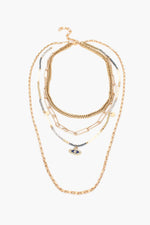 Evil Eye Multi Chain Layered Necklace (Grey/Gold)
