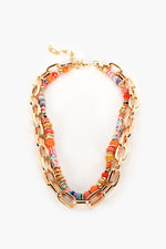 Quartz Bead Chain Layers Necklace (Multi/Gold)