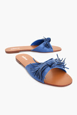 Faux Suede Fringed Bow Slides (Blue)