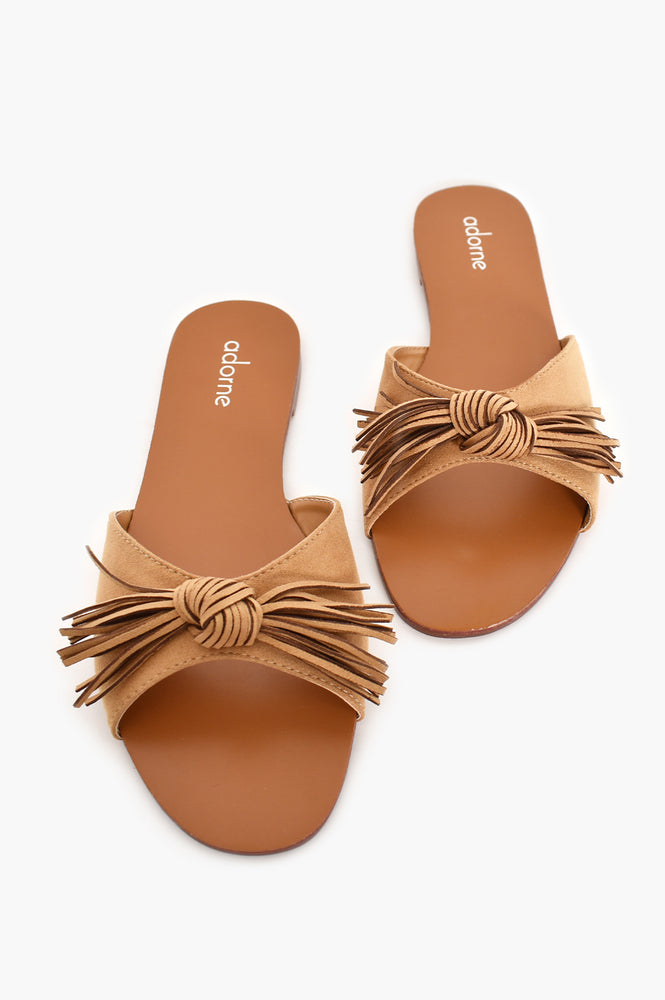 Faux Suede Fringed Bow Slides (Camel)