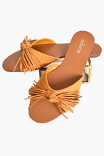 Faux Suede Fringed Bow Slides (Mustard)