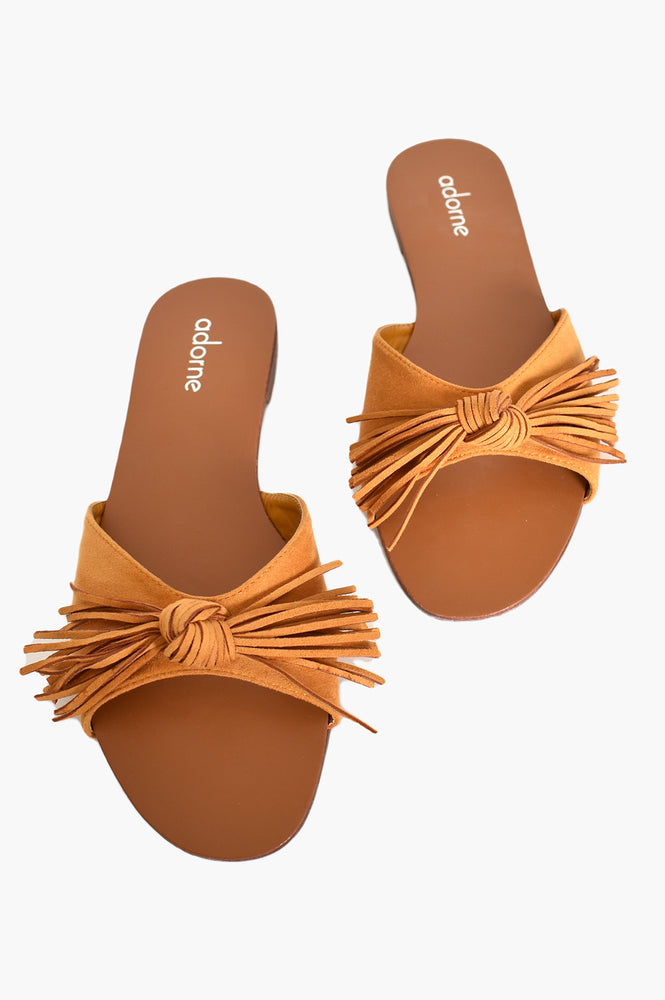 Suede Fringed Bow Slides (Mustard)