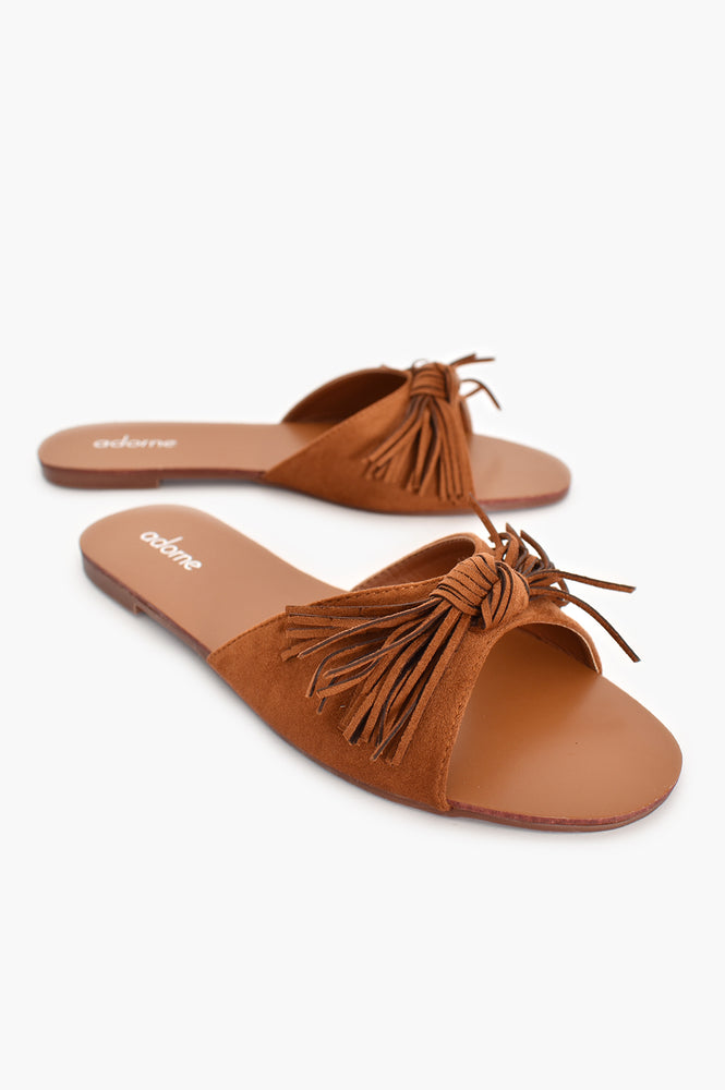 Faux Suede Fringed Bow Slides (Tan)