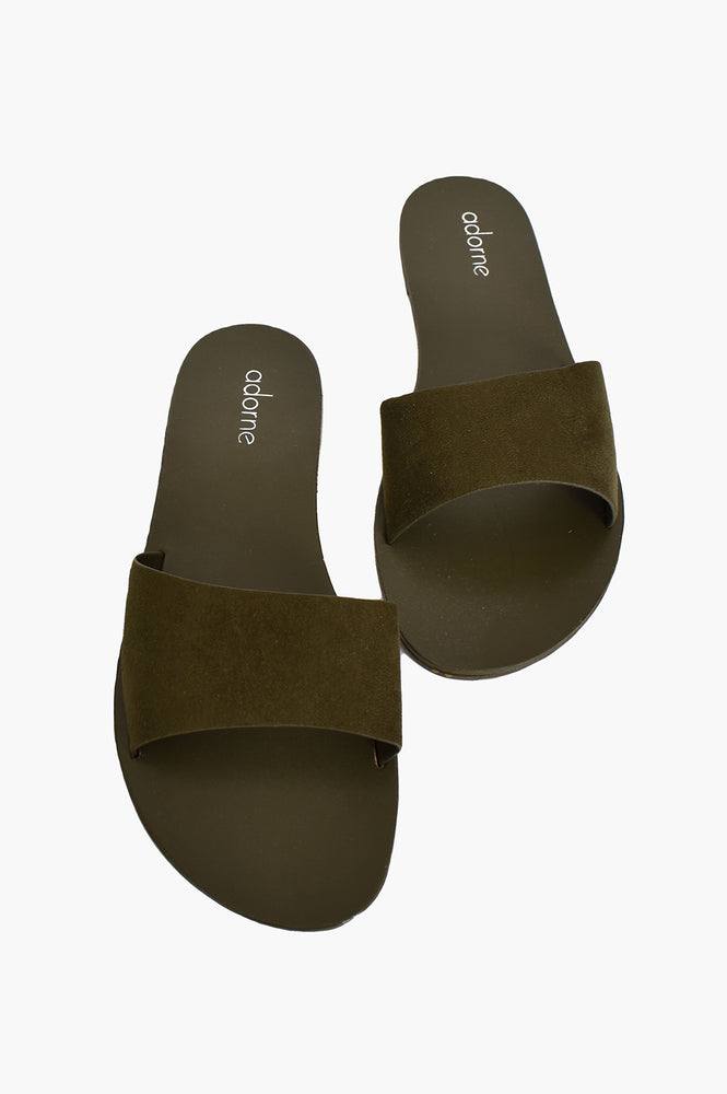 Essential Faux Suede Slides (Khaki)