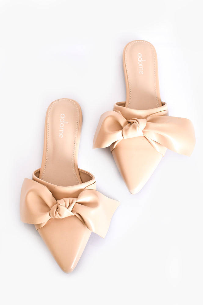 Lucy Nude Bow Front Slide (Nude)