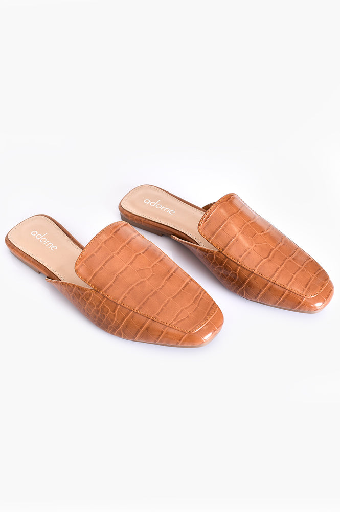 Macey Croc Slide (Tan)