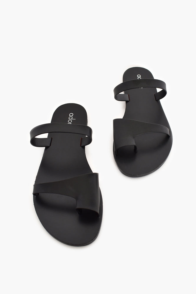 Santorini Double Strap Toe Slide (Black)