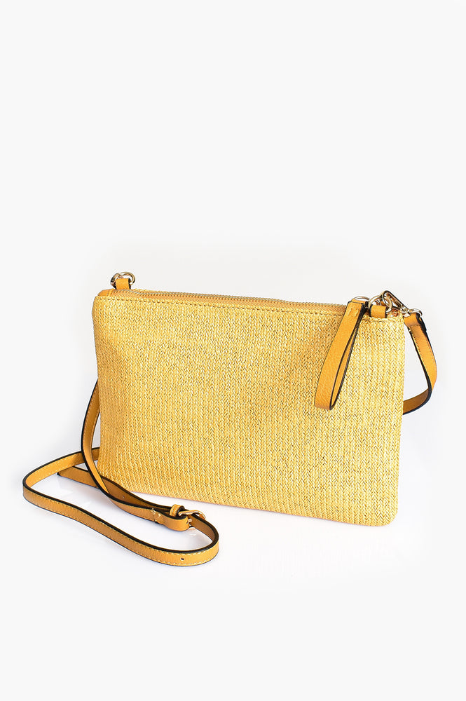 Faux Weave Cross Body Bag (Mustard)