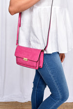 Flapover Small Pocket Front Croc Bag (Hot Pink)