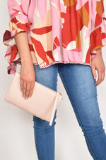 Pleated Zip Top Small Bag (Pink)