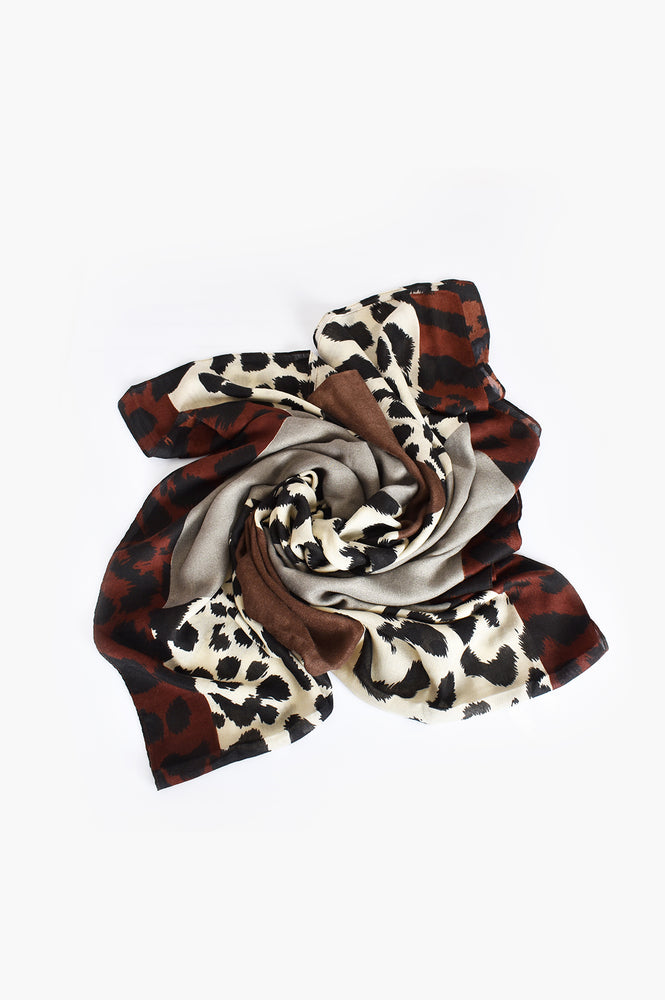 Abstract Animal Print Scarf (Grey/Natural)