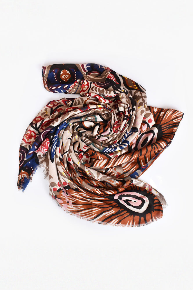 Bold Abstract Floral Scarf (Mocha)
