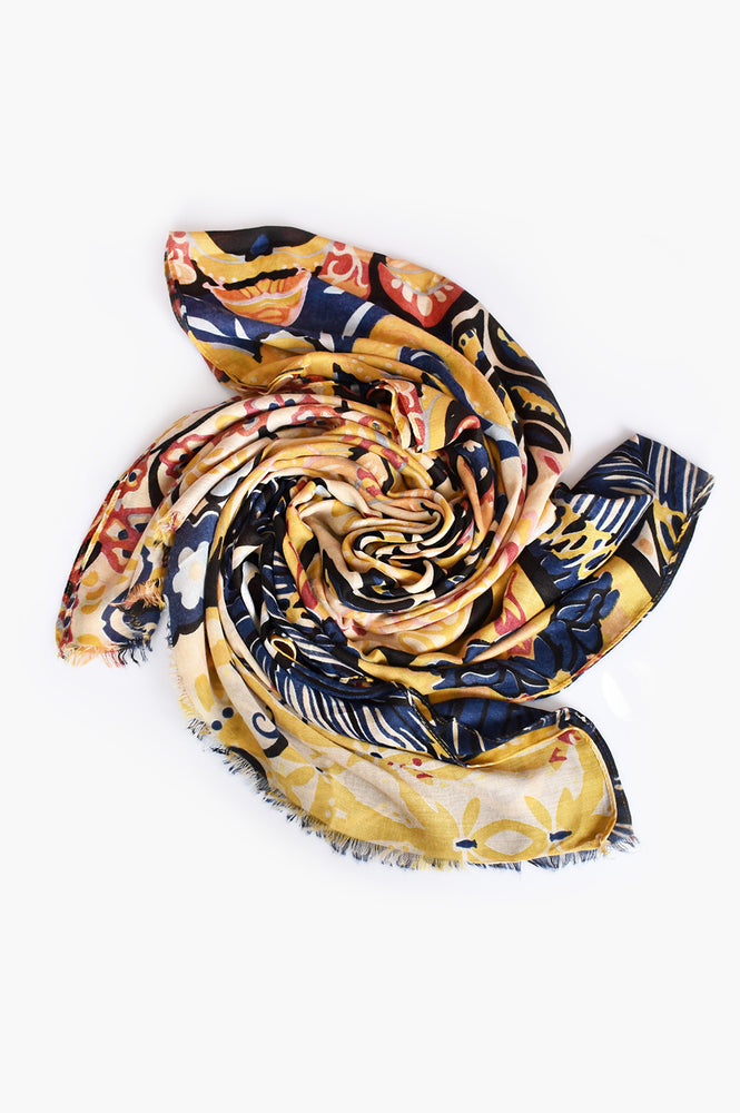 Bold Abstract Floral Scarf (Yellow)