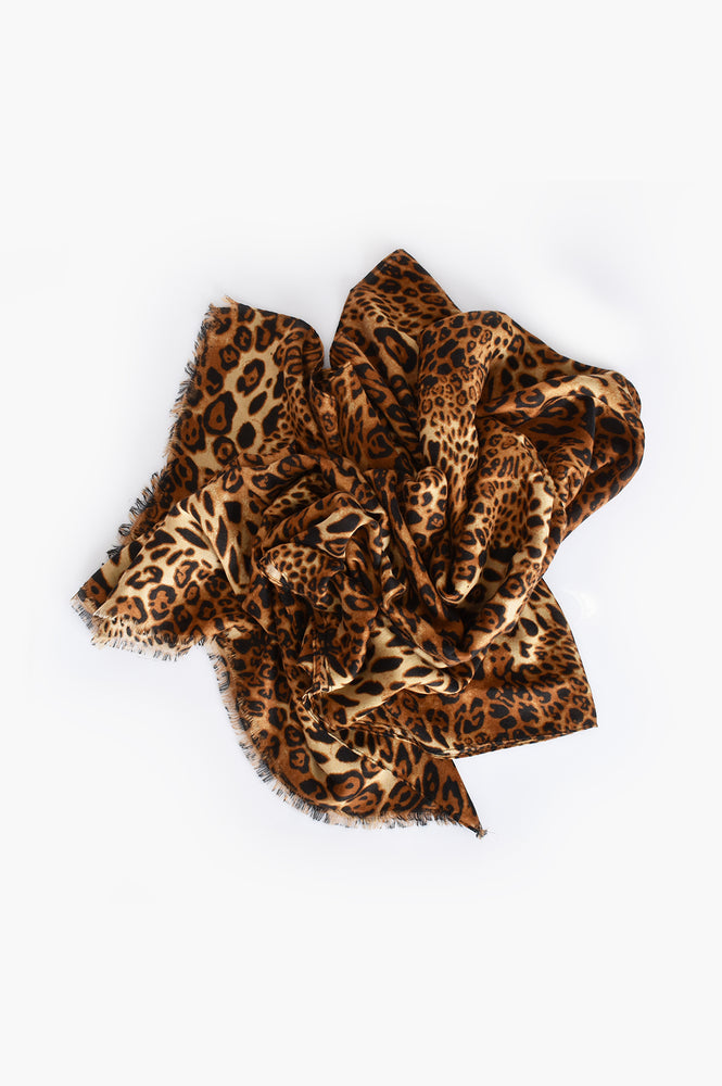 Large Leopard Mix Scarf (Tan)