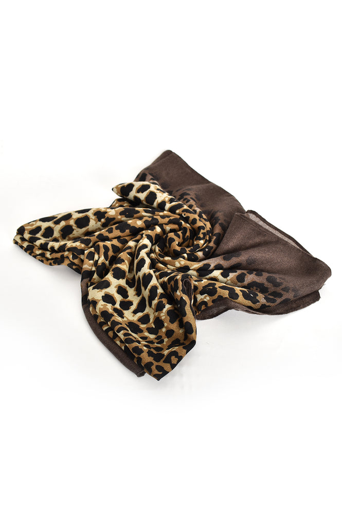 Animal Print Border Edge Scarf (Leopard Khaki)