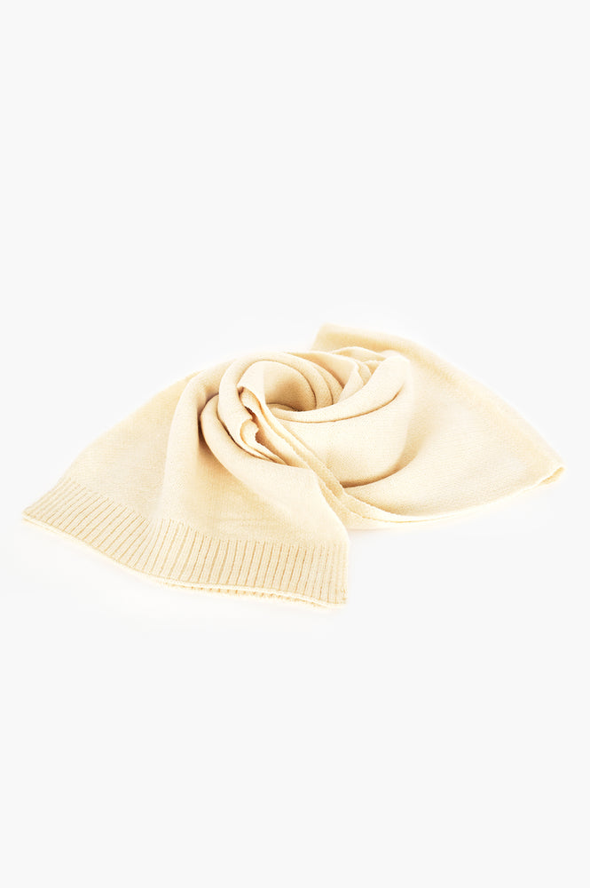 Ribbed Edge Knit Scarf (Cream)