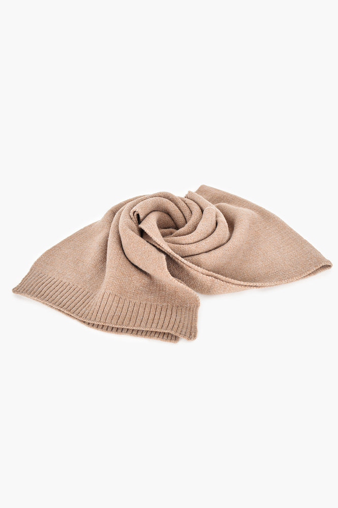 Ribbed Edge Knit Scarf (Mocha)