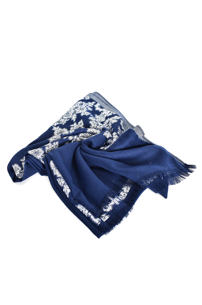 Floral Fringe Edge Narrow Scarf (Navy)