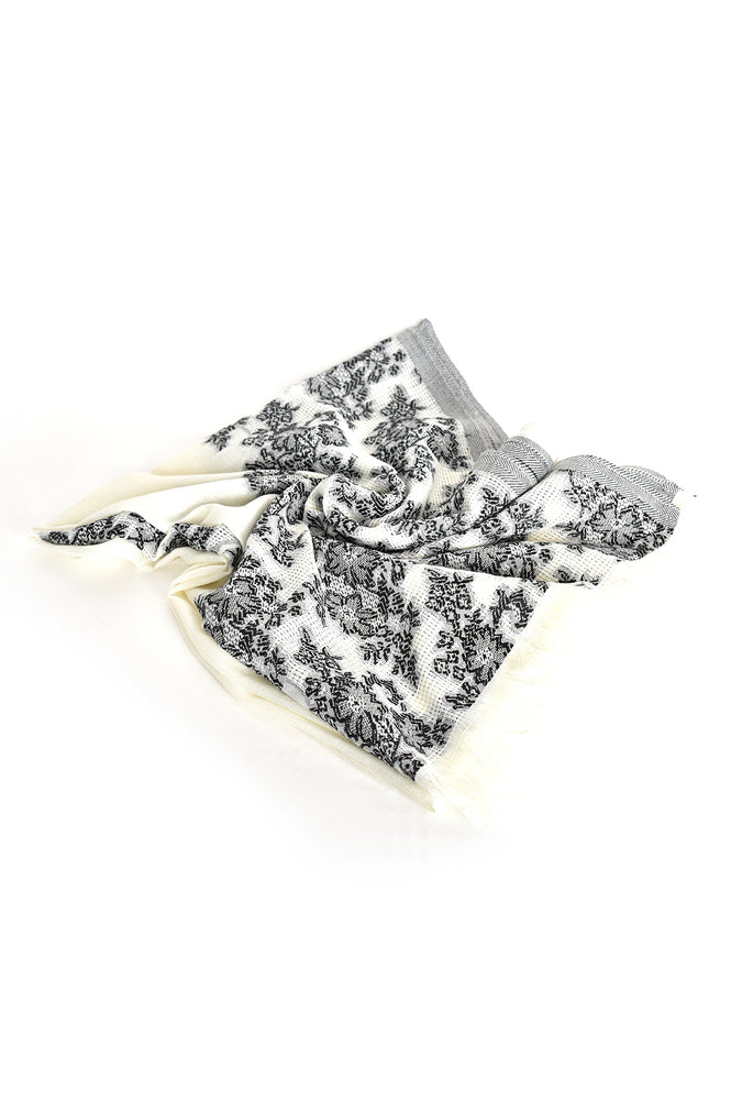Floral Fringe Edge Narrow Scarf (White)