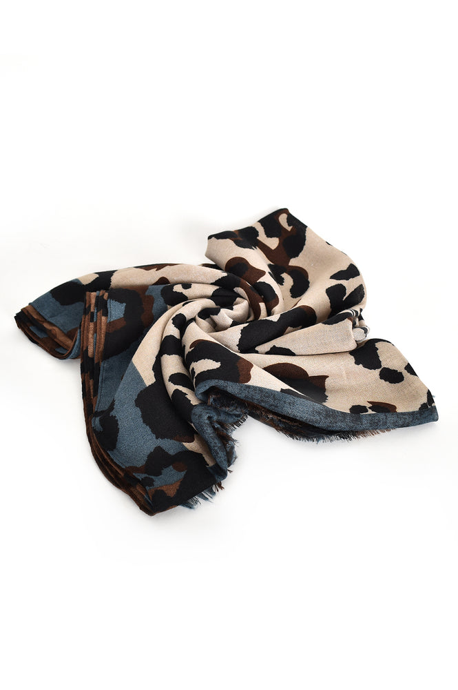 Leopard Light Weight Scarf (Blue Mocha)