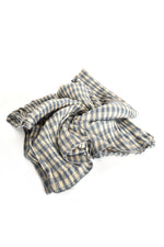 Gingham Pleat Scarf (Blue)