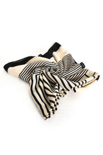 Striped Border Scarf (Cream Black)