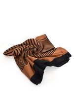 Striped Border Scarf (Tan Black)