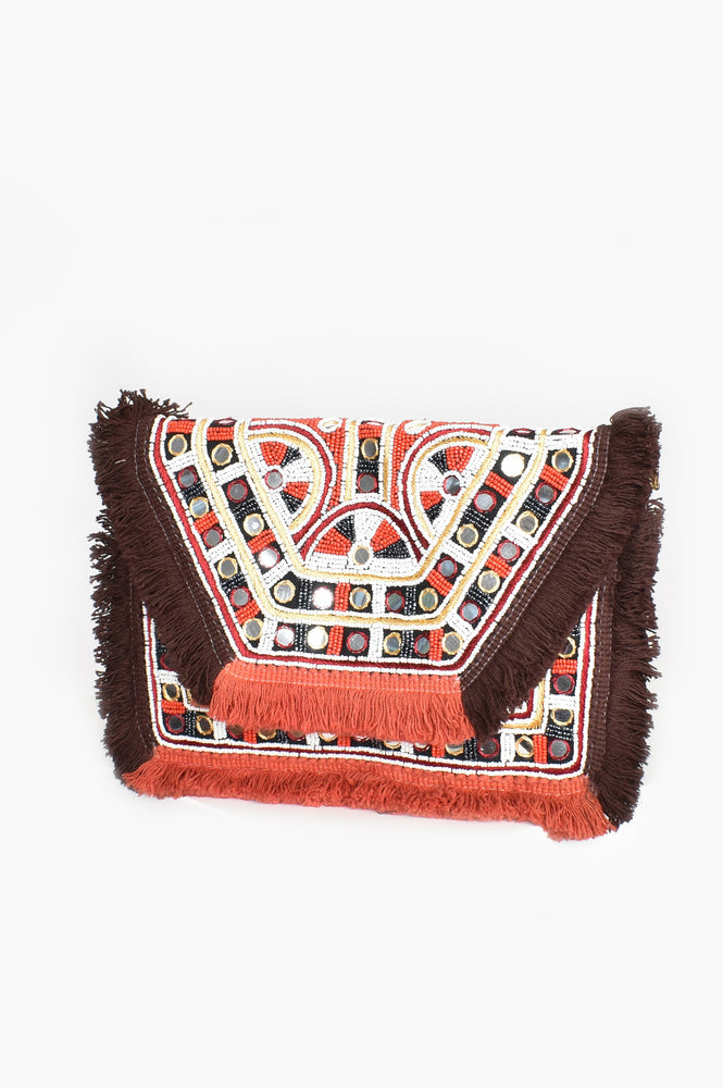 Mexicana Mirrors & Fringe Fold Over Clutch (Terracotta)
