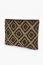 Beaded Diamond Pattern Pouch (Bronze/Black)