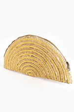 Half Circle Beaded Weave Clutch (Natural/Gold)