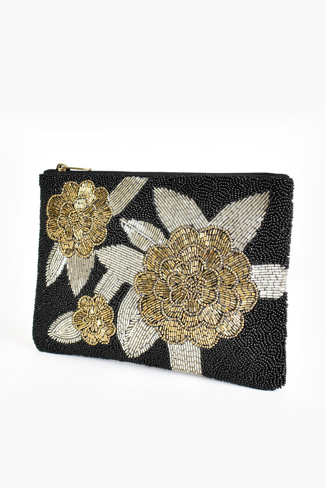 Gabi Beaded Bouquet Zip Top Clutch (Black/Gold)