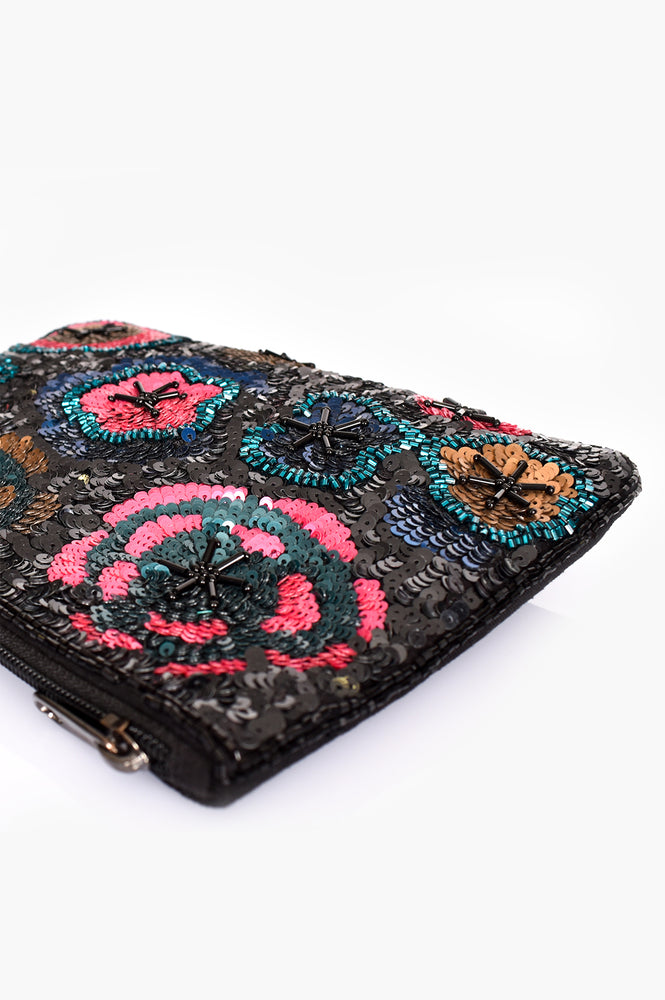 Sequin Floral Zip Top Clutch (Multi)