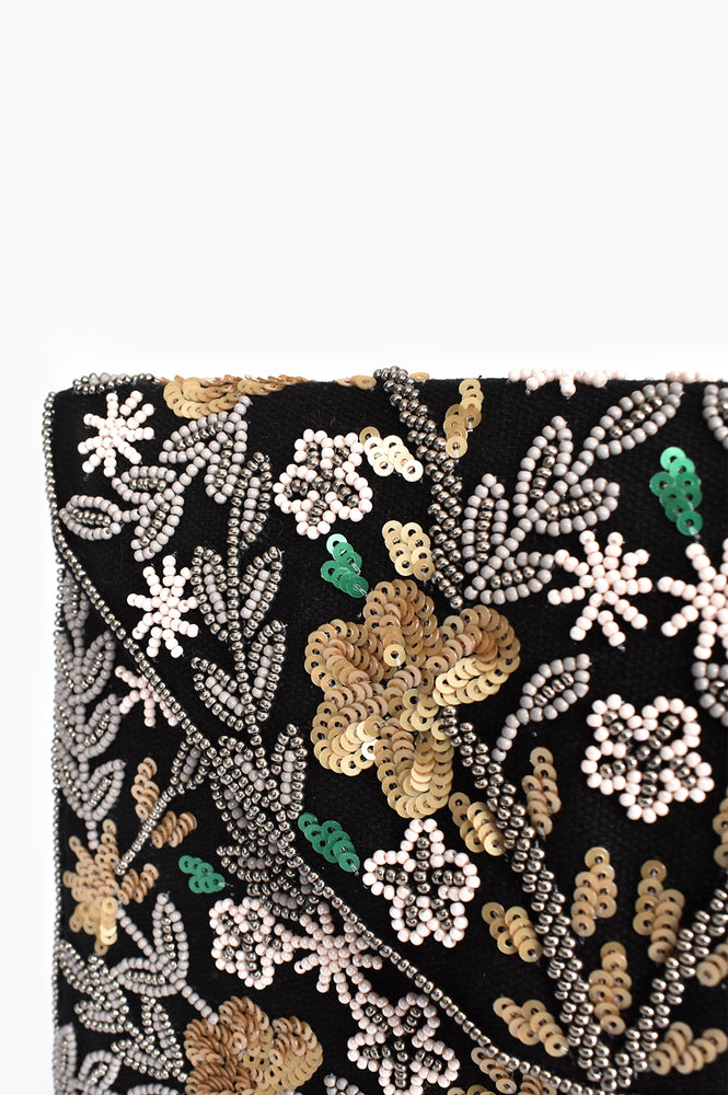 Pretty Sequin Floral Fold Over Clutch (Black)