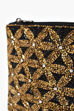 Beaded Daisies  Zip Top Clutch (Black/Gold)