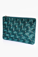 Beaded Daisies  Zip Top Clutch (Teal/Green)