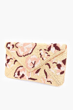 Hand Beaded Flowers Flap Over Clutch (Camel/Peach)