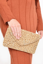Beaded Floral Pattern Flap Over Clutch (Camel/Gold)