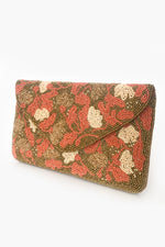 Hand Beaded Petals Flap Over Clutch (Coral/Gold)