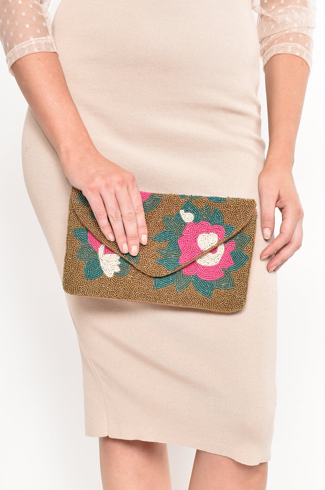 Beaded Flower Garden Flap Over Clutch (Gold/Multi)