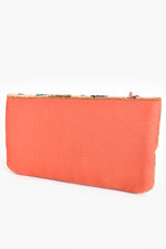 Sequin Floral Beaded Flap Over Clutch (Peach/Multi)