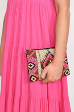 Hand Beaded Small Zip Top Clutch (Fuchsia/Red)