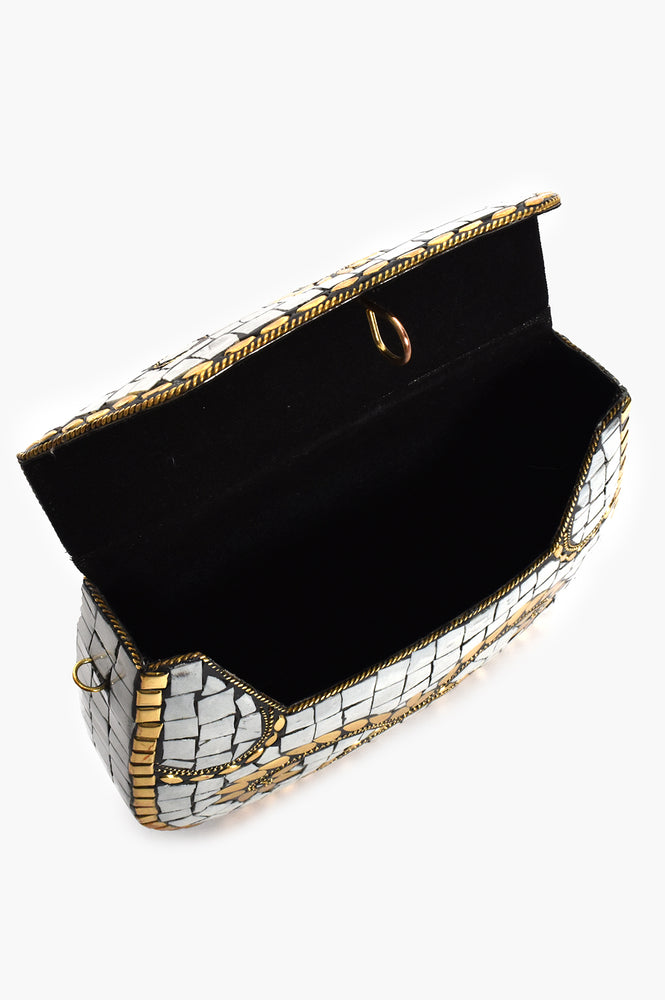 Mosaic Patterned Hard Clutch (White/Gold)