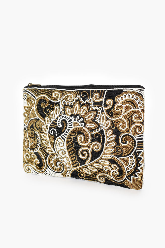 Hand Beaded Paisley Zip Top Clutch (Black/Gold)