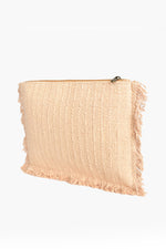 Mosaic Fringe Centre Zip Top Clutch (Nude/Tan)