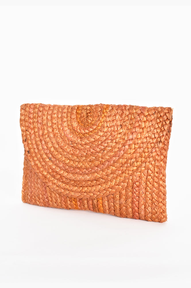 Summer Woven Flap Over Clutch (Orange)