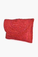 Summer Woven Flap Over Clutch (Red)
