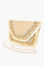 Coin Fringe Edge Flopover Clutch (Natural/Gold)