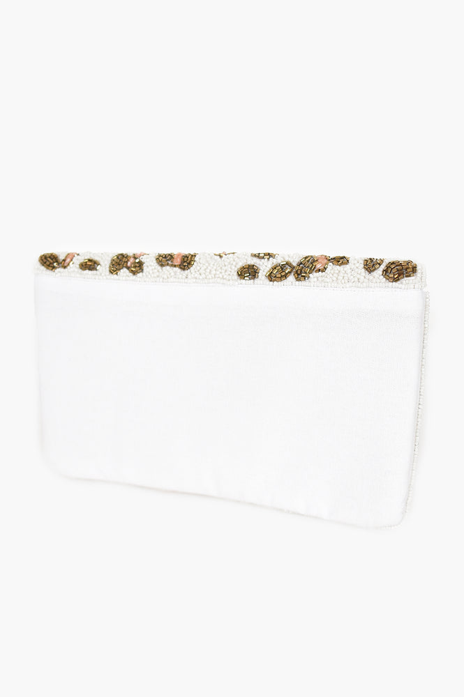 Beaded Cheetah Flap Over Clutch (White/Gold)