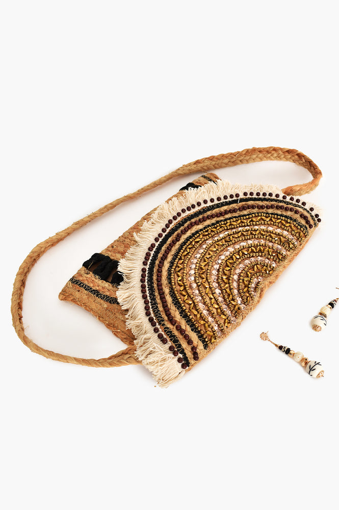 Beaded Flapover Rope Detail Clutch (Natural/Black)