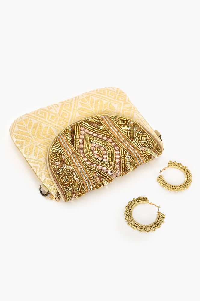 Beaded Flapover Pouch (Gold/Cream)